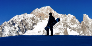 Off Piste Terrain At Courmayeur Beneath The South Face Of Monte Bianco