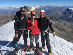 Team Celebration On The Weissmies Summit. Lagginhorn next day. Good conditions in late September 2016.