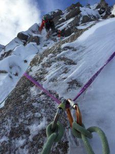 Mixed mountaineering terrain - snowy rock in crampons - great Matterhorn training!