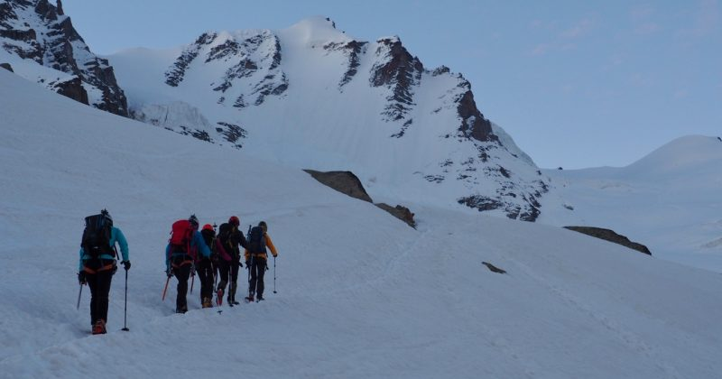 Trekking in to the Gran Paradiso North Face / glacier normal route from the Rifugio Chabod