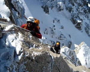 First pitch of the ascent of the Dent du Geant