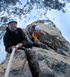 Steep and enjoyable granite  fixed rope climbing high on the Dent du Geant