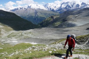 The long & steep walk to the Rothorn Hut from Zermatt High Street
