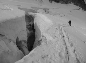 Large Late Summer Crevasses On The Eastern Descent Of The Entreves