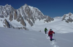 Approaching the Aiguilles Marbrees from Hellbroner