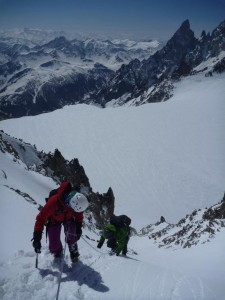 Descent of the fine west facing summit couloir on the Aiguilles Marbrees