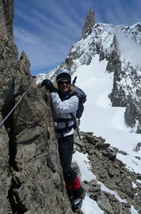 Fine exposed mountaineering on solid granite on the Aiguille Marbrees