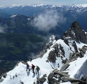 Good early summer conditions for the excellent PD traverse of the Aiguilles Marbrees Italian  French Alps