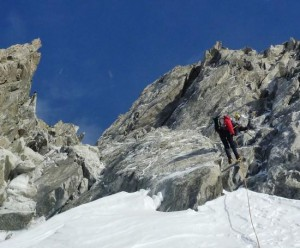 The Second of 2 Abseils on the Aiguilles Marbrees Descent