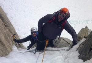 An Icy Chimney Can Provide 2 Direct Short Pitches to the Arete Laurence