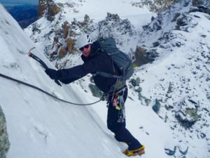 Much Snowier Conditions On The Same Crux Wall In October 2015