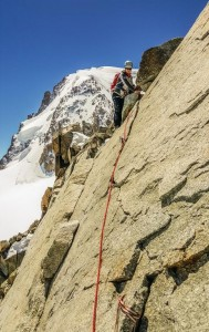 The Fine Granite Crux Wall Of Arete Laurence Cosmiques Hut, Chamonix