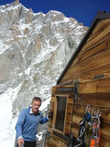 Mike Brownlow at the Col de la Fourch Hut