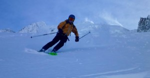 Fun High Mountain Skiing Above The Argentiere Glacier