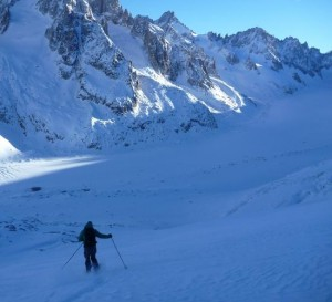 Skiing in to the Argentiere Glacier From the Grands Montets