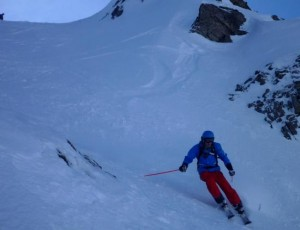 Skiing the North Facing Val Veny Couloirs Below the Youla Lift