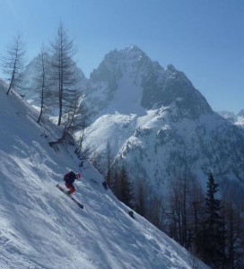 Skiing The Posettes Couloir Down To Vallorcine