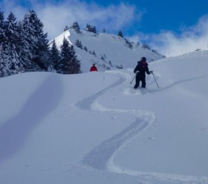 Perfect Powder On The Descent To Grevattaz 1577m
