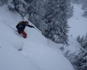 Great Steep Powder Skiing Off The Prarion Summit At Les Houches
