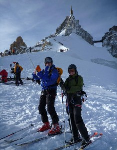 Aiguille du Midi Ridge done and skis on