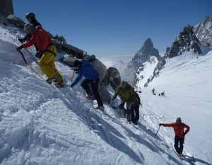 Gran Paradiso Mountaineering Training Day 1 Crampon practice at the Col Freshfield