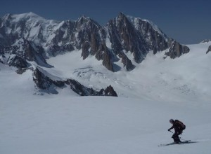 Ski Mountaineering Above the Col Du Geant French  Italian Border