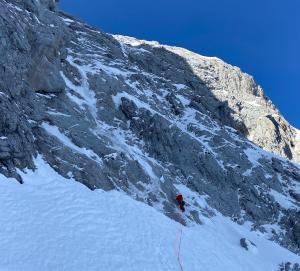 Calum setting off up the Mamule North Face