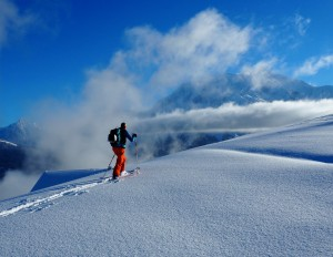 Velvet snow powder touring above Saint Gervais