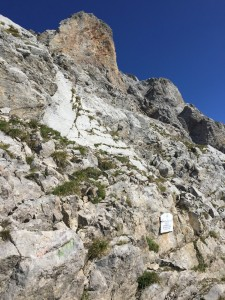 From the Col Vert, a very short section on the crest leads to a narrow terrace on the right...