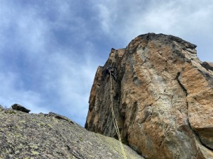 One of several steep abseils on the traverse of the Perrons