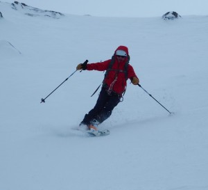 Steeper skiing in the Couloir variant