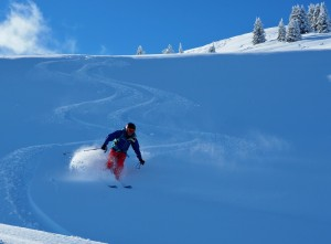 Well earned fresh tracks after a short ski tour in the closed ski area of Saint Gervais