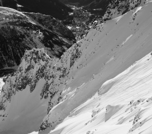 Skiers In The Marbrees Coulouir December 2018