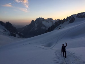 The dawn patrol from Rifugio Torino - Approaching The Tour Ronde