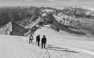 Above 4000m in shallow fresh snow and cool temperatures. Superb views from the early autumn ascent of the Gran Paradiso, Oct 2018.